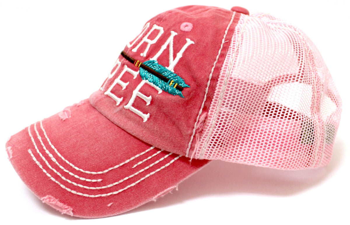 "Rose Pink ""BORN FREE"" Embroidery Mesh-Back Trucker - Caps 'N Vintage"