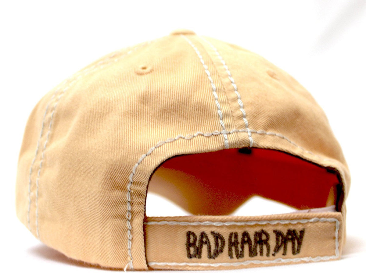 "SANDY PEACH Contrast-Stitch ""BAD HAIR DAY"" Embroidery Ballcap - Caps 'N Vintage"