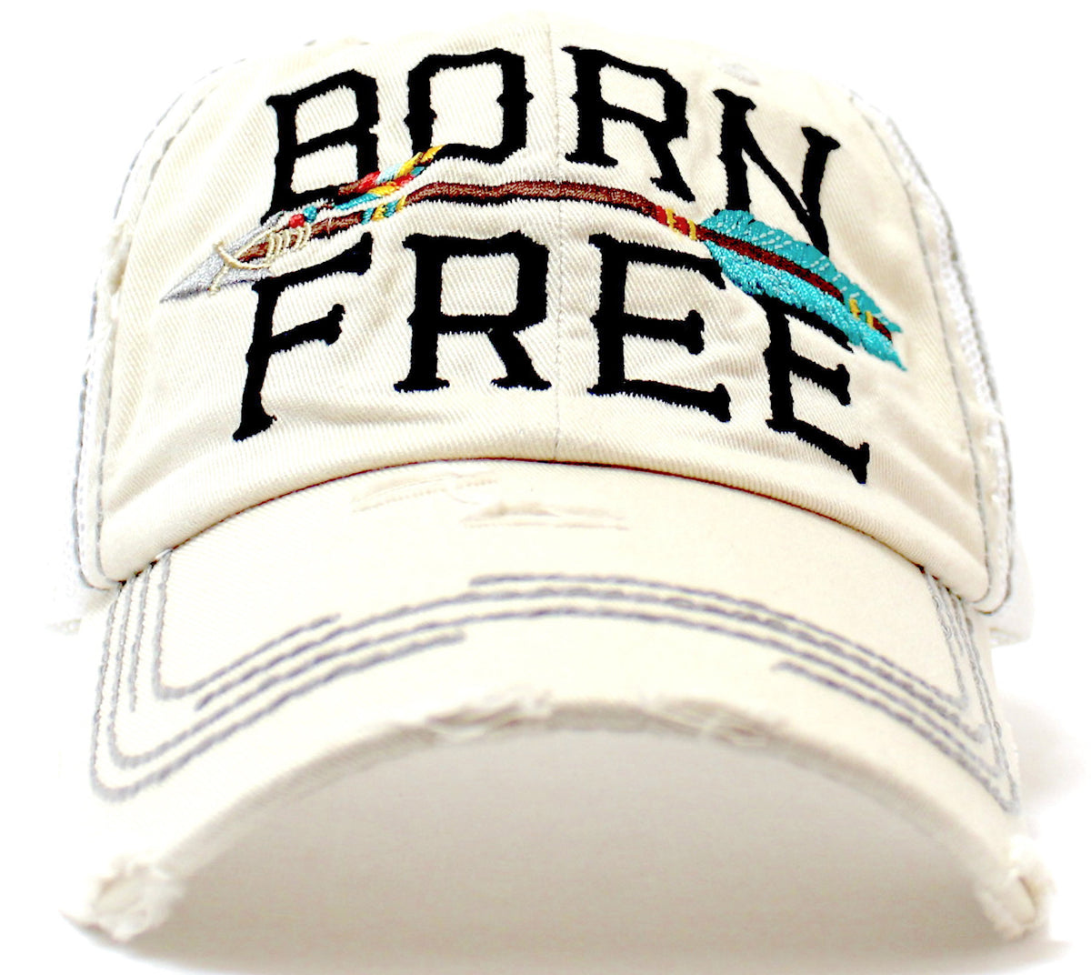 "SEASHELL STONE ""BORN FREE"" Embroidery Vintage Trucker Hat, Pink Mesh Back & Arrow - Caps 'N Vintage"