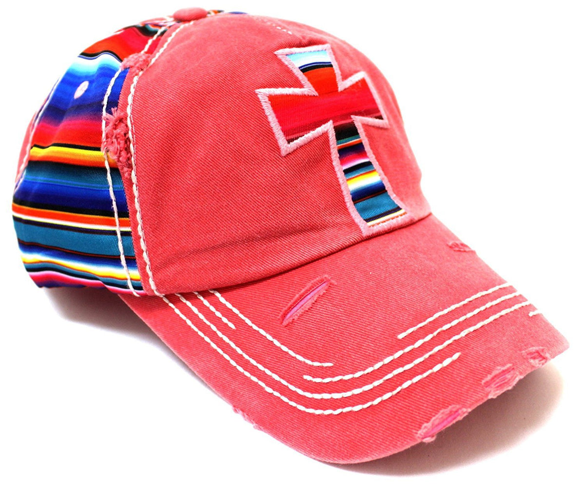 Serape Cross Patch on VINTAGE RED Distressed, Multi-Colored Hat - Caps 'N Vintage