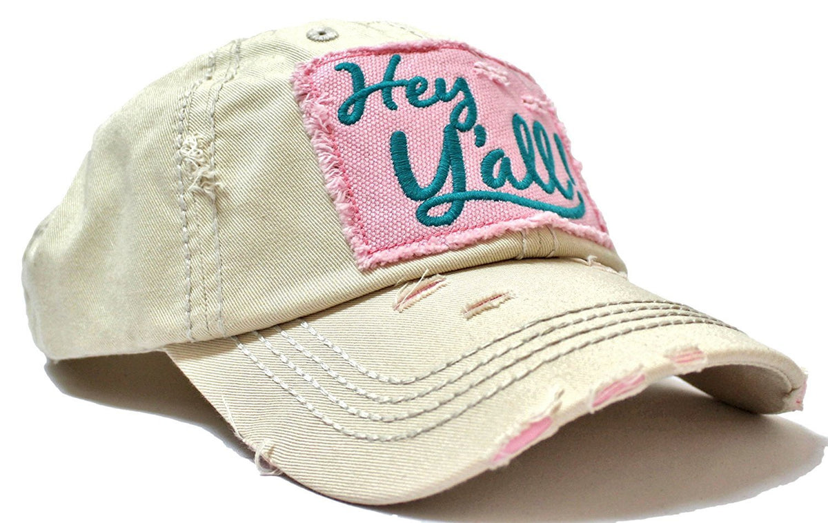 "SUMMER EXCLUSIVE ""Hey Y'all!"" Distressed, Vintage Cap Collection--Ivory - Caps 'N Vintage"