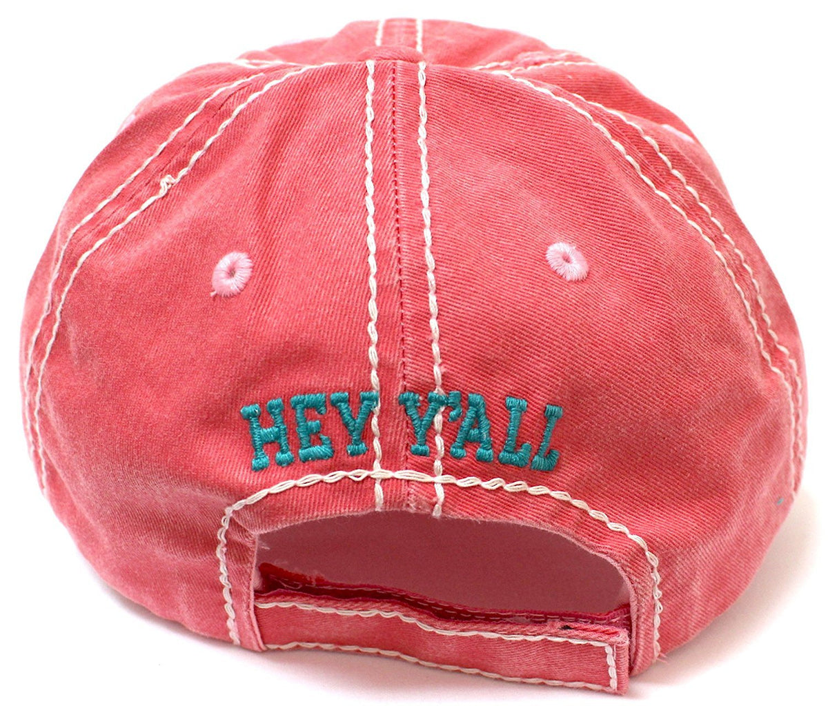 "SUMMER EXCLUSIVE ""Hey Y'all!"" Distressed, Vintage Cap Collection--Rose - Caps 'N Vintage"