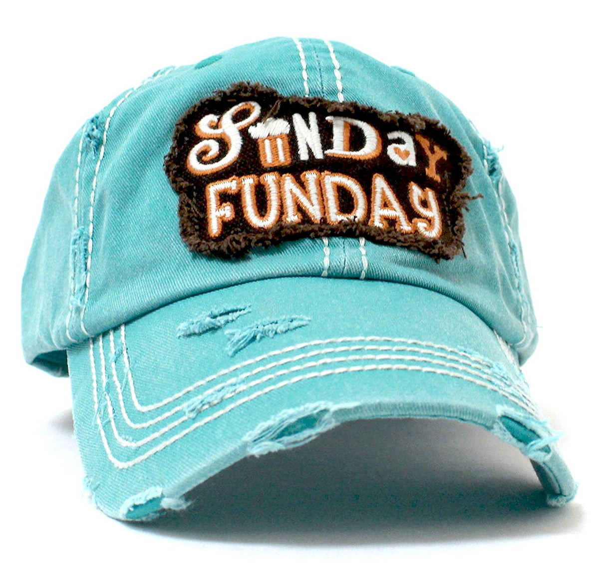 """SUNDAY FUNDAY"" Patch Embroidery Vintage Baseball Hat - Caps 'N Vintage"