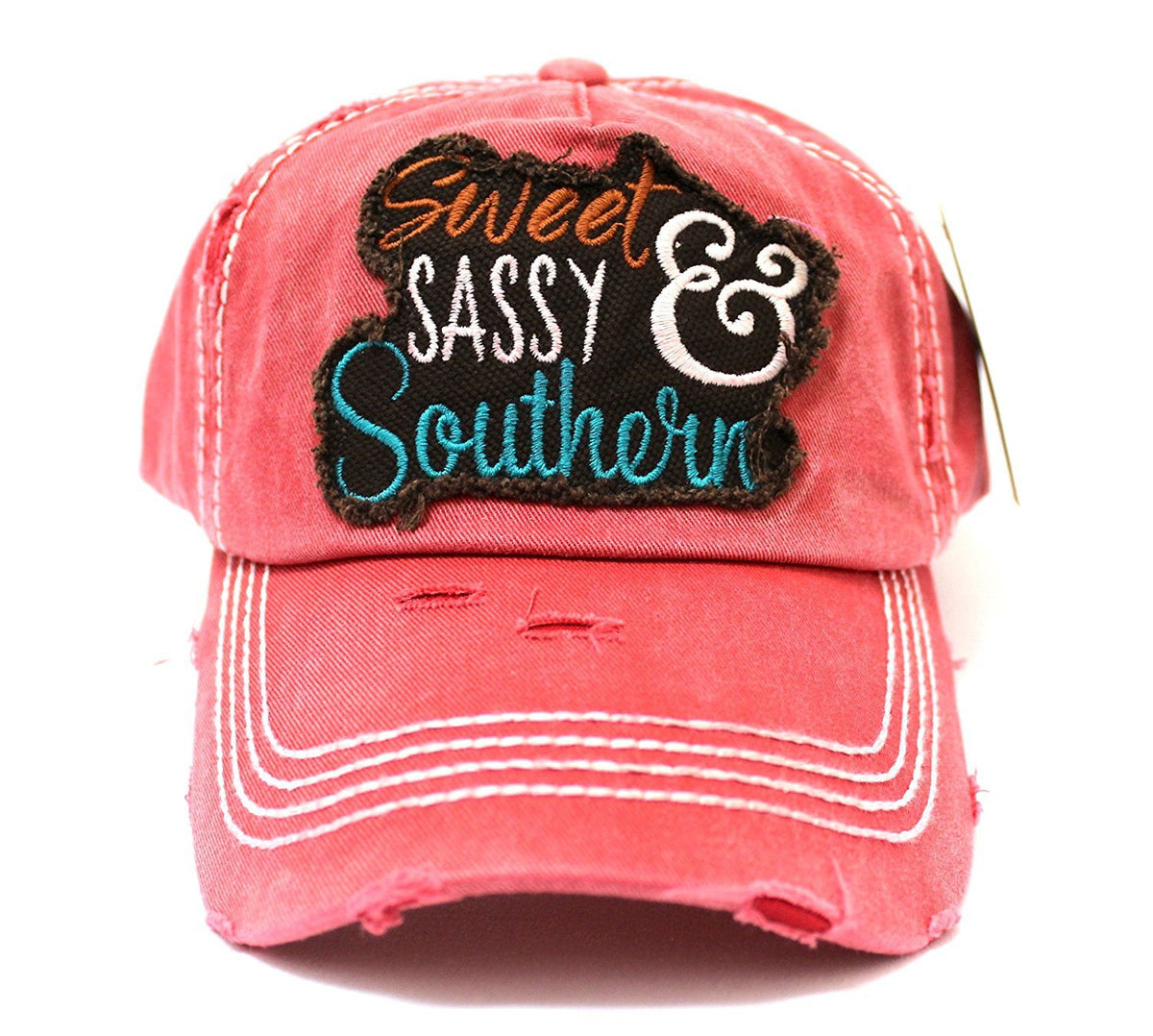 """Sweet SASSY & Southern"" Patch Embroidery Front & Back Hat - Caps 'N Vintage"