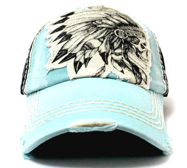 TIFFANY BLUE Vintage Washed CHIEF HEADDRESS Patch Embroidery Baseball Cap - Caps 'N Vintage