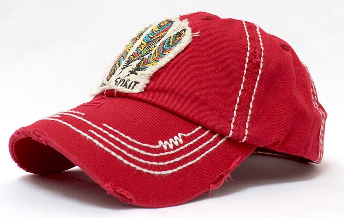 "Triple Feather ""Free Spirit"" Patch Embroidery Hat - Caps 'N Vintage"