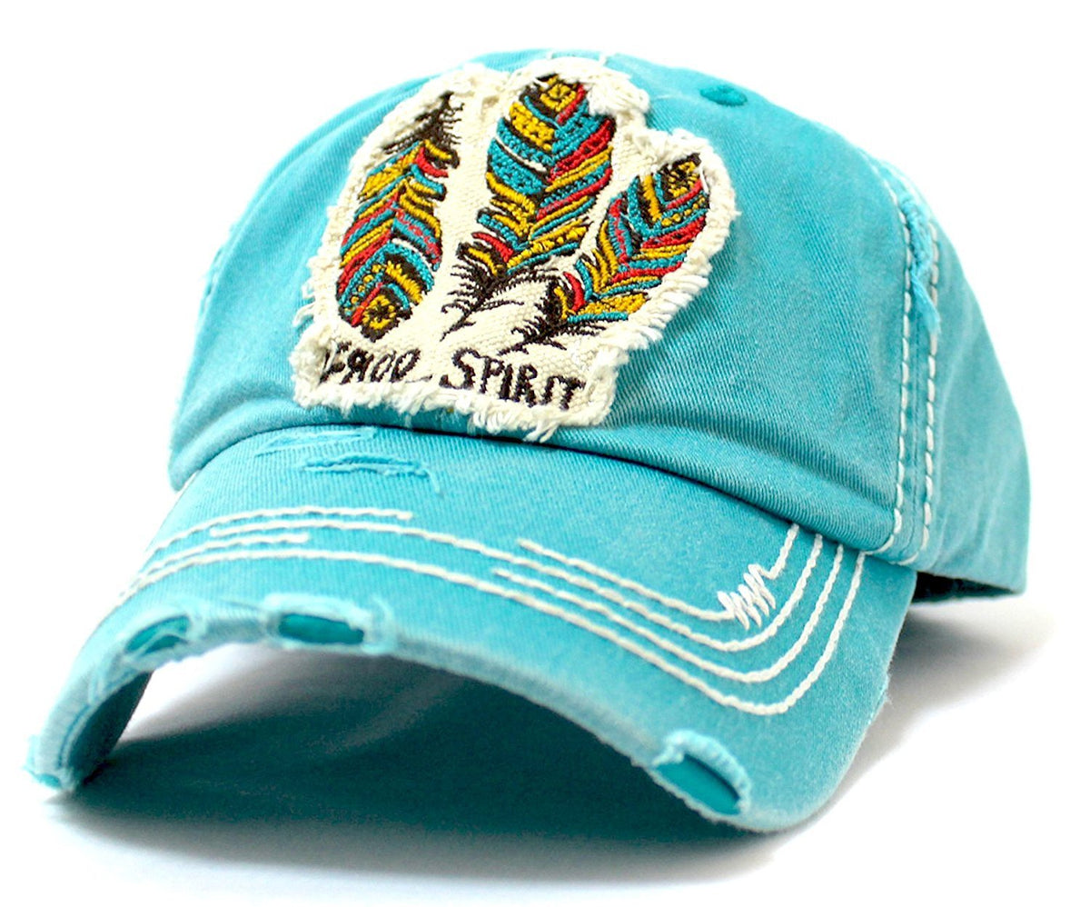 "Triple Feather ""FREE SPIRIT"" Patch on Turquoise, Vintage Cap w/ Back Feather Detail - Caps 'N Vintage"