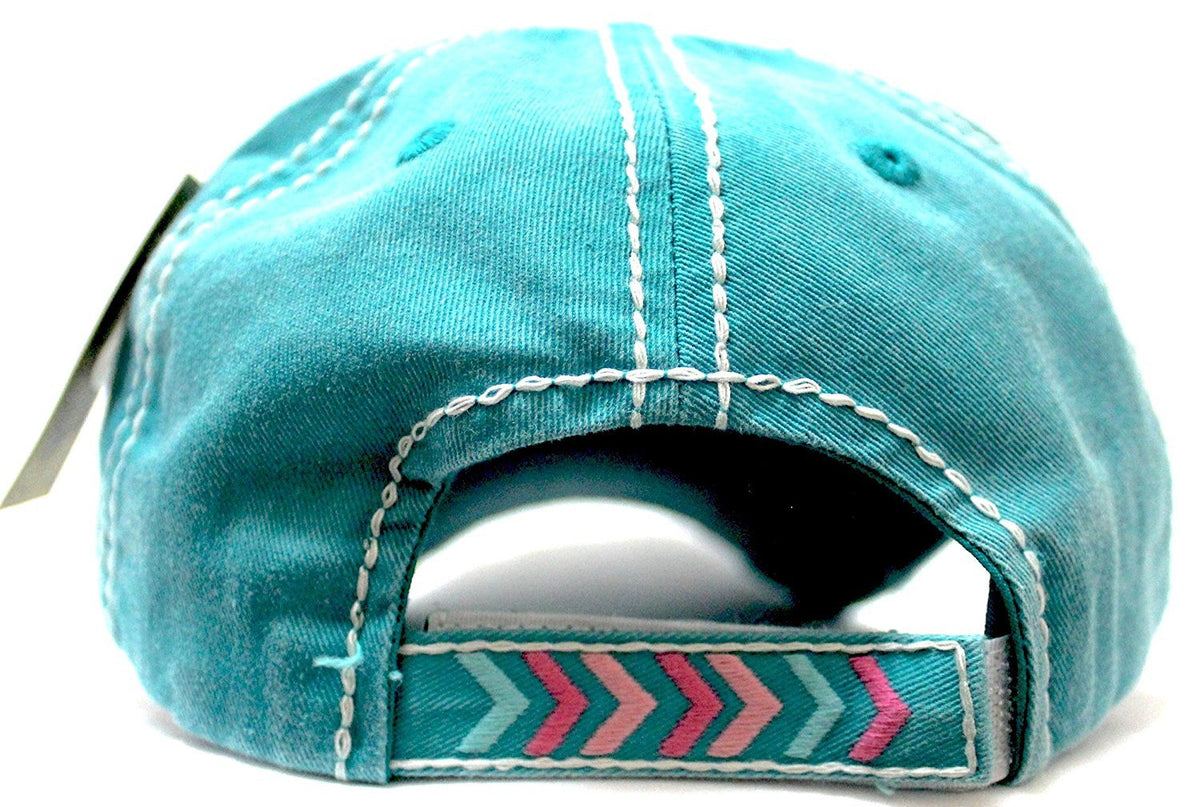 "Turquoise ""FREE SPIRIT"" CHIEF HEADDRESS Patchwork Vintage Baseball Hat - Caps 'N Vintage"