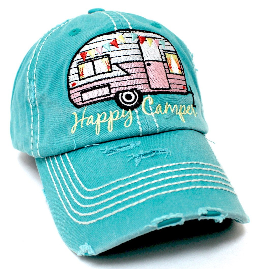 "Turquoise ""Happy Camper"" Distressed Embroidery Hat - Caps 'N Vintage"