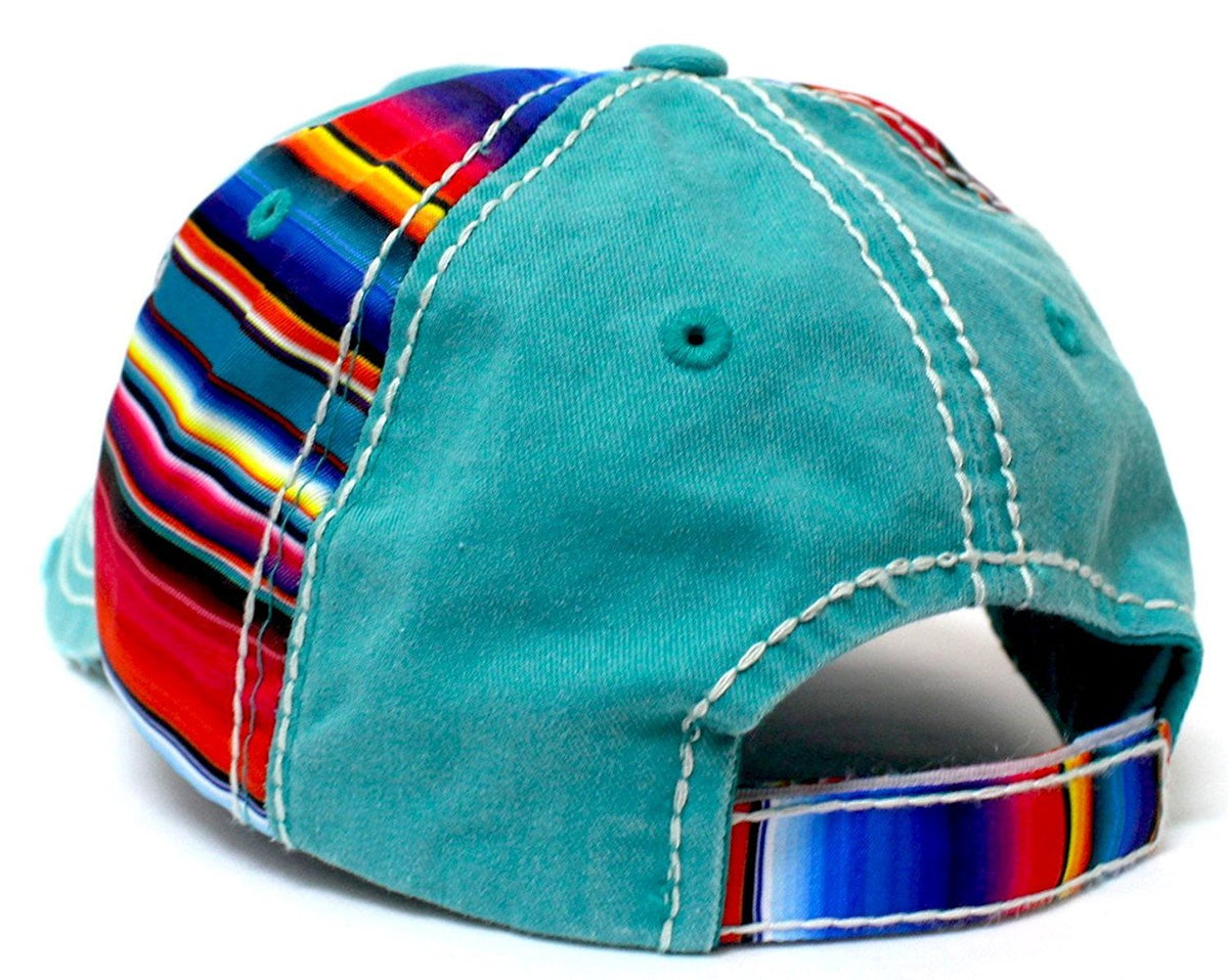 Turquoise Serape Colored MUSTANG Patch Embroidery Hat - Caps 'N Vintage