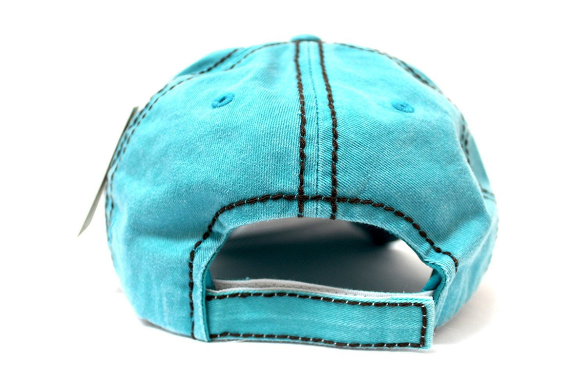 "Turquoise ""Y'ALL, HAPPY CAMPER, WILD FREE"" Multi-Patch Embroidered Adjustable Cap - Caps 'N Vintage"