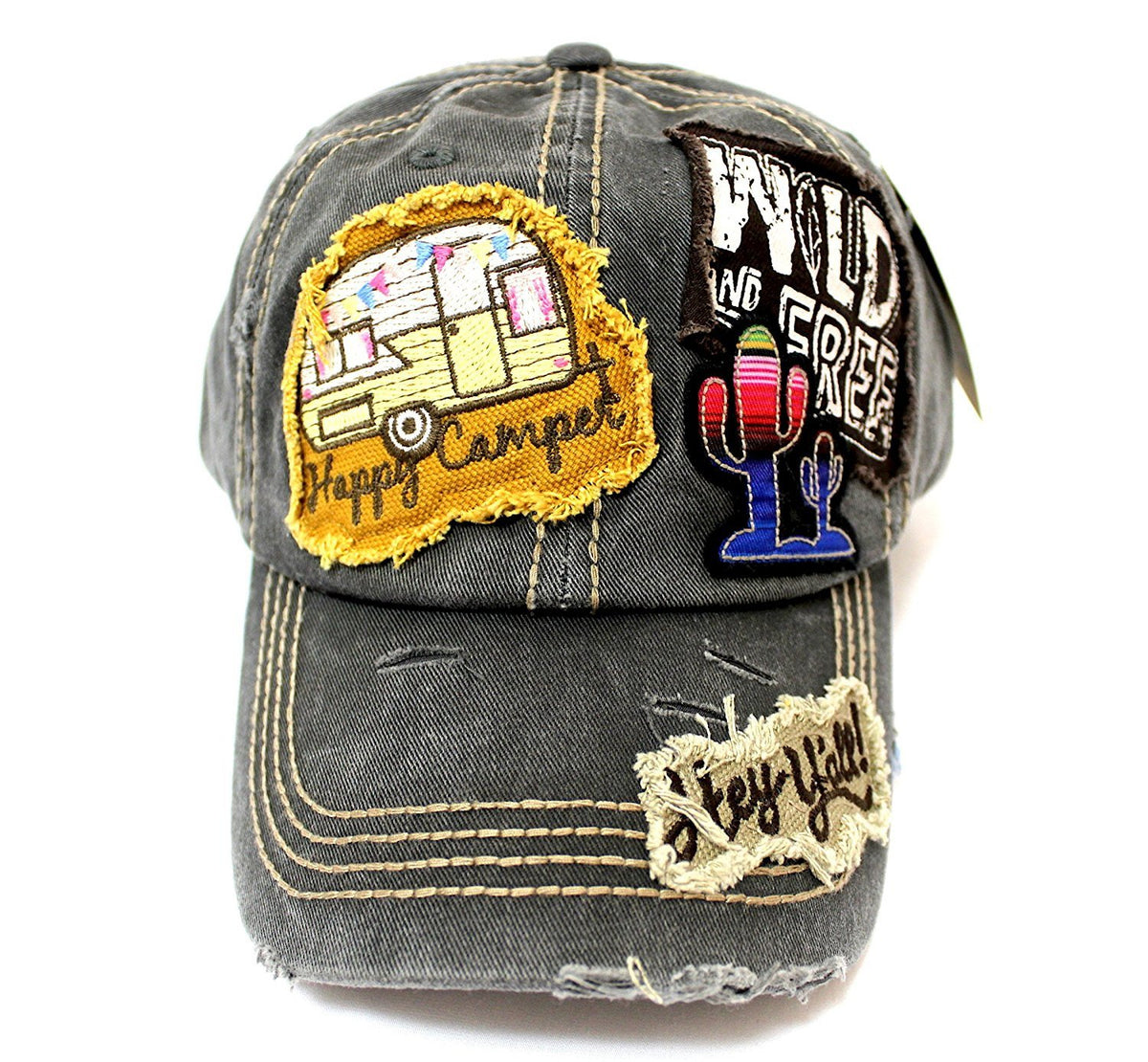 "Vintage Black ""Y'ALL, HAPPY CAMPER, WILD FREE"" Multi-Patch Embroidered Adjustable Cap - Caps 'N Vintage"