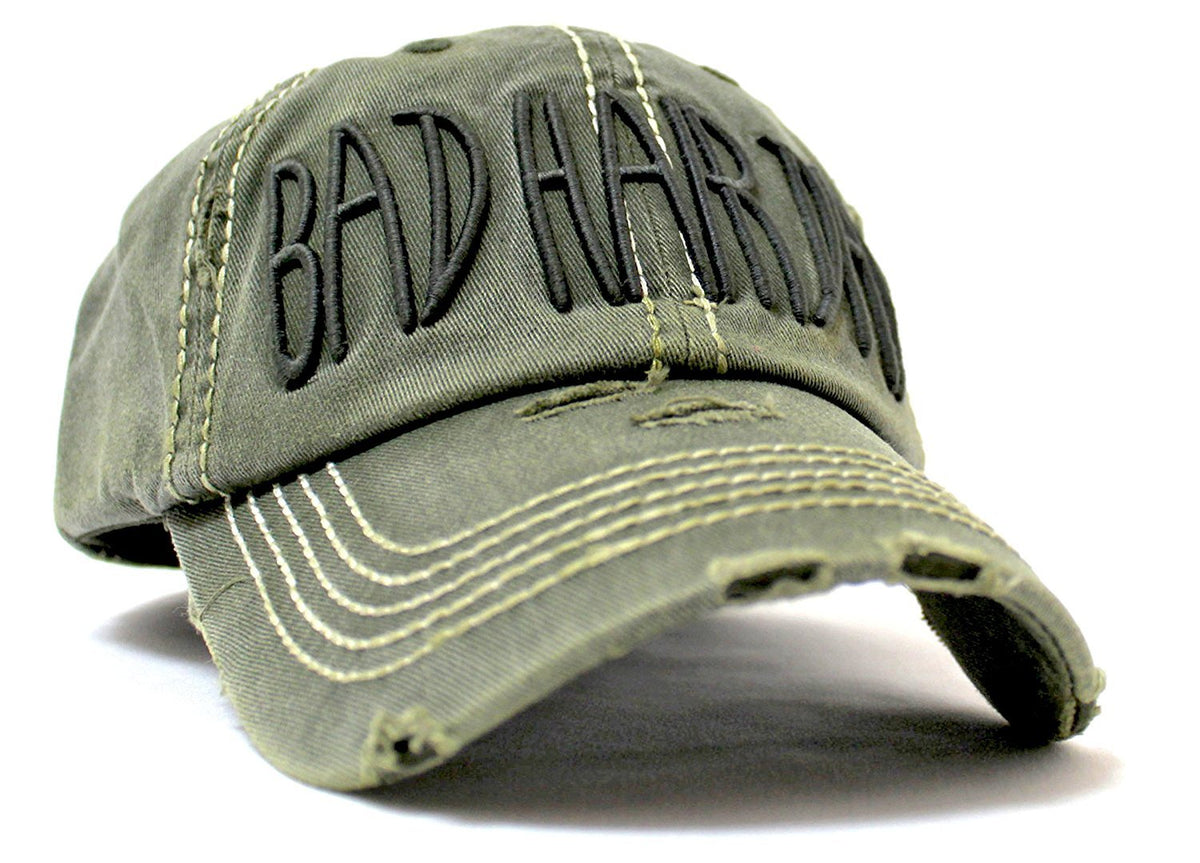 "VINTAGE OLIVE Contrast-Stitch ""BAD HAIR DAY"" Embroidery Ballcap - Caps 'N Vintage"