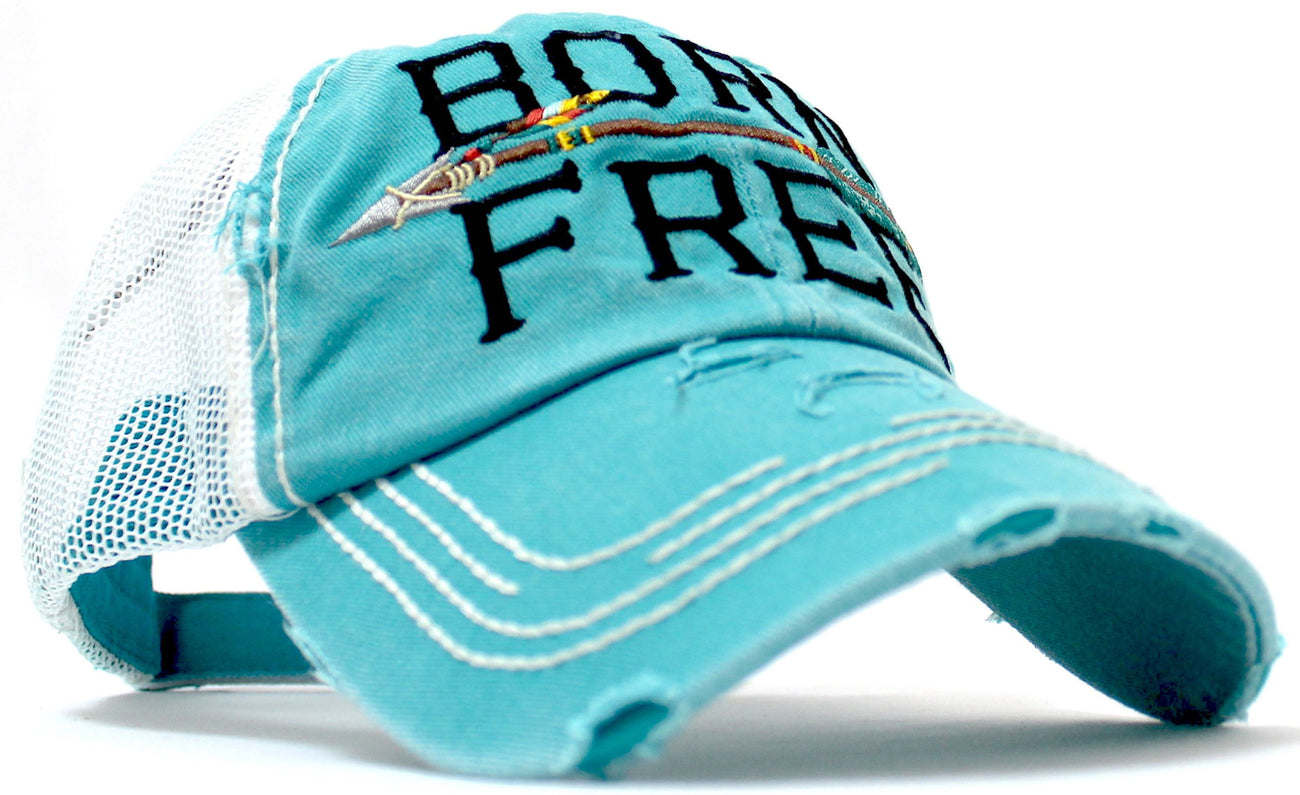 "VINTAGE TRUCKER--TURQUOISE ""BORN FREE"" Embroidery Patch Cap, White Mesh Back Trucker Hat - Caps 'N Vintage"