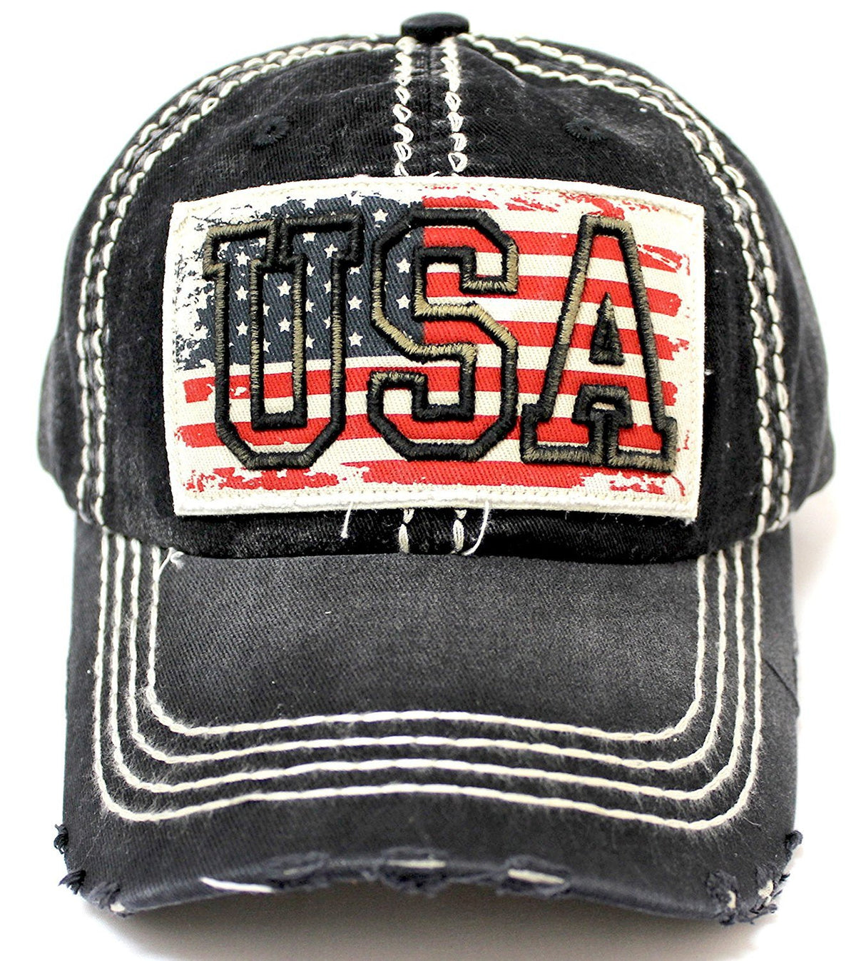 BLACK Vintage USA Flag Embroidery Patch Adjustable Baseball Cap - Caps 'N Vintage