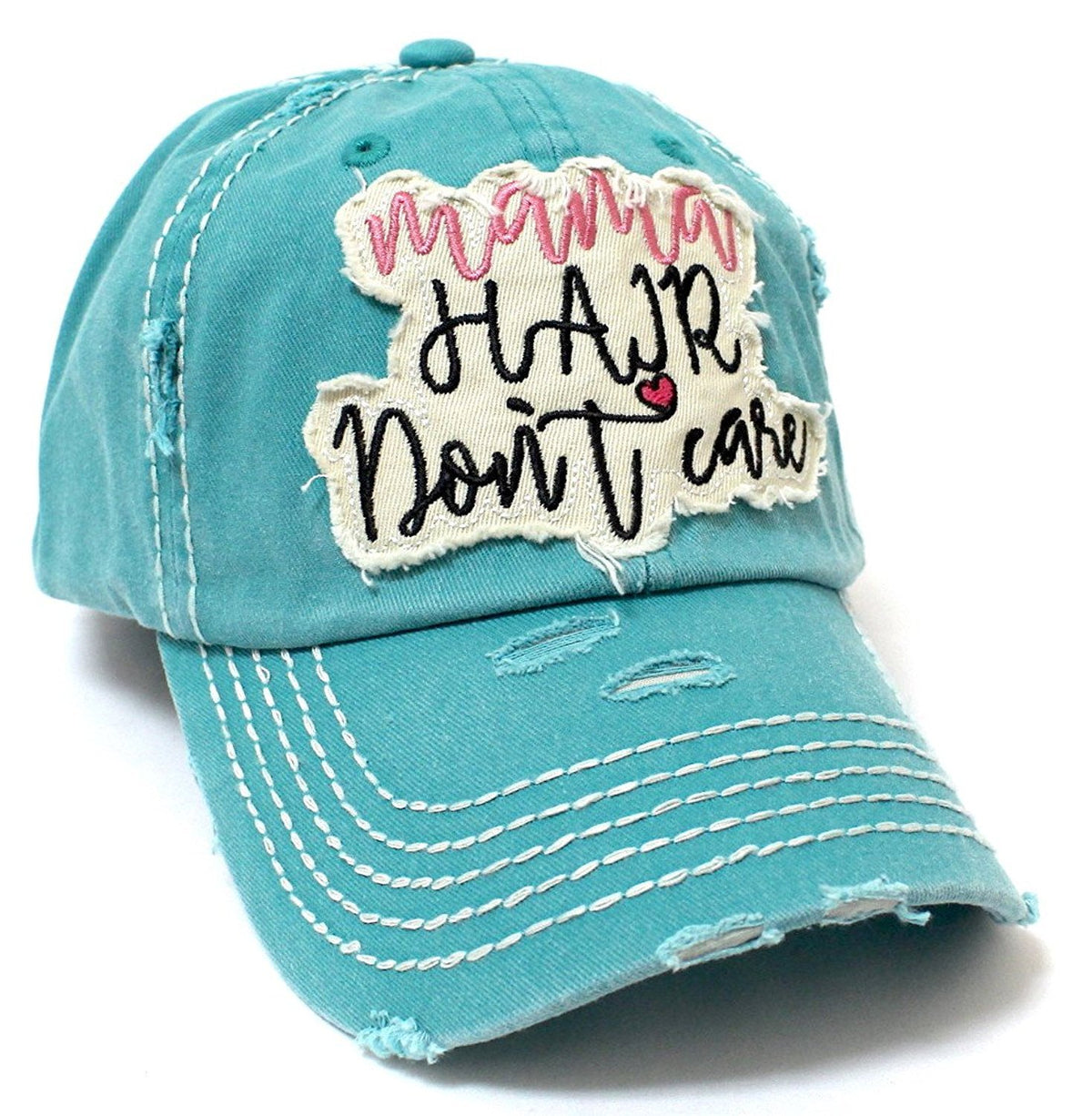 "Women's ""MAMA HAIR DON'T CARE"" Patch Embroidery Vintage Hat Cap - Caps 'N Vintage"