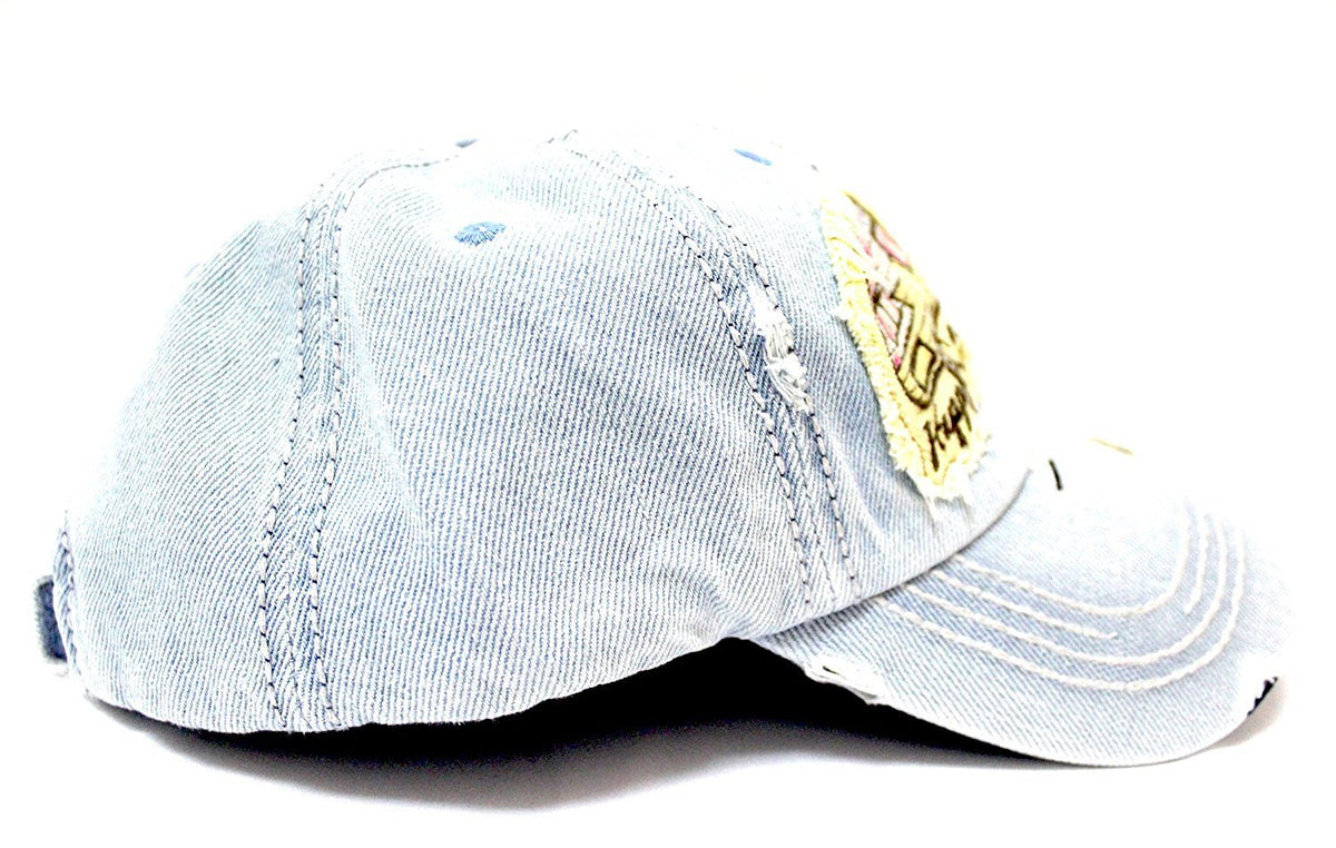 """Y'ALL, HAPPY CAMPER, WILD FREE"" Multi-Patch Embroidered Adjustable Cap - Caps 'N Vintage"