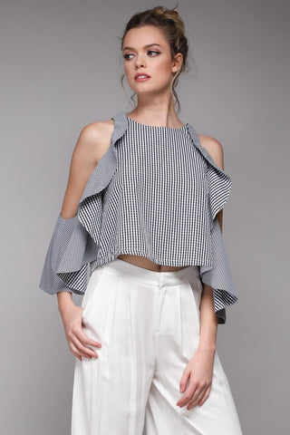 Black Gingham Ruffle Cold Shoulder