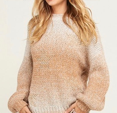 Taupe Ombre Metallic Star Sweater