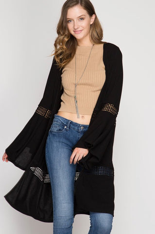 Black Knit Bell Sleeve Cardigan