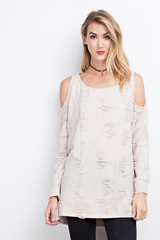 Natural Distressed Cold Shoulder