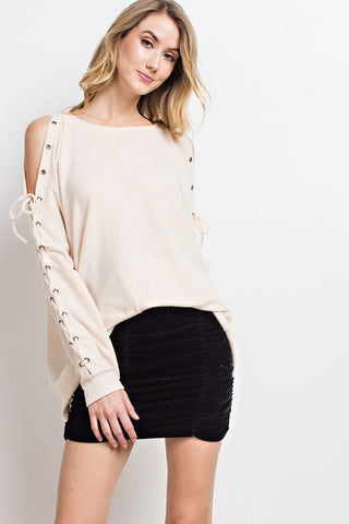 Vanilla Lace Up Sleeves Cold Shoulder