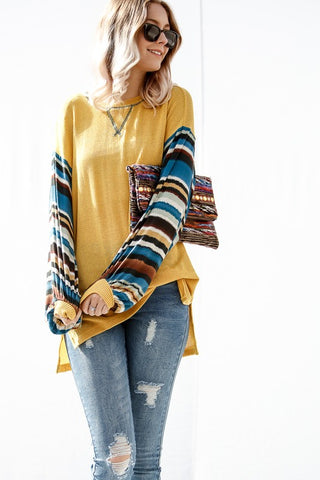 Mustard Knit Top with Tribal Striped Bubble Sleeves