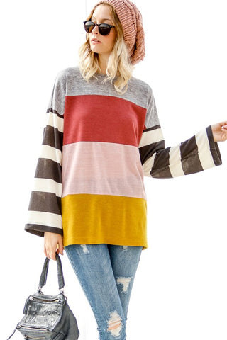 Marsala Color Block Fine Gauge Sweater