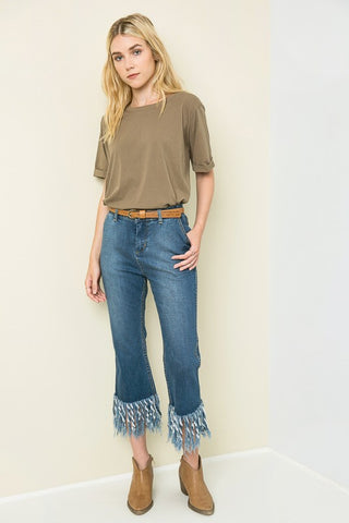 Frayed Cropped Denim