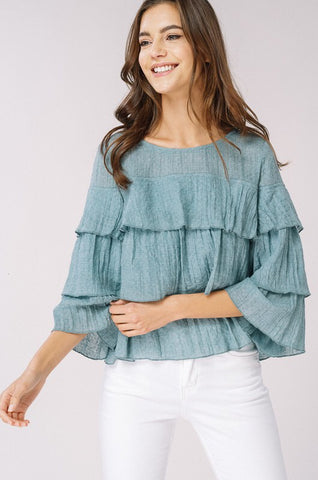 Blue Triple Layered Top