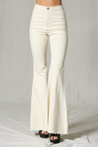 Cream Denim Flare Jeans