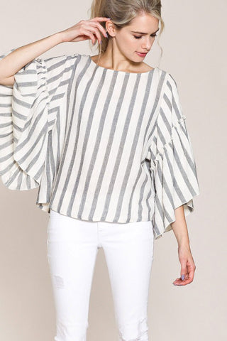 Grey Stripe Bell Sleeve