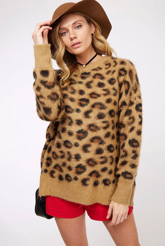 Brown Leopard Fuzzy Sweater