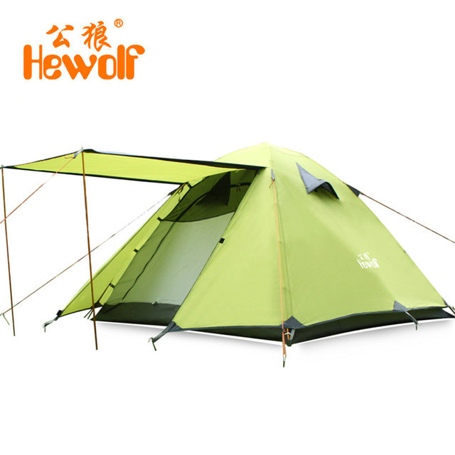 Double Layer 4 Person Tent With Awning Waterproof Outdoor Camping For Hunting Picnic Party Hiking