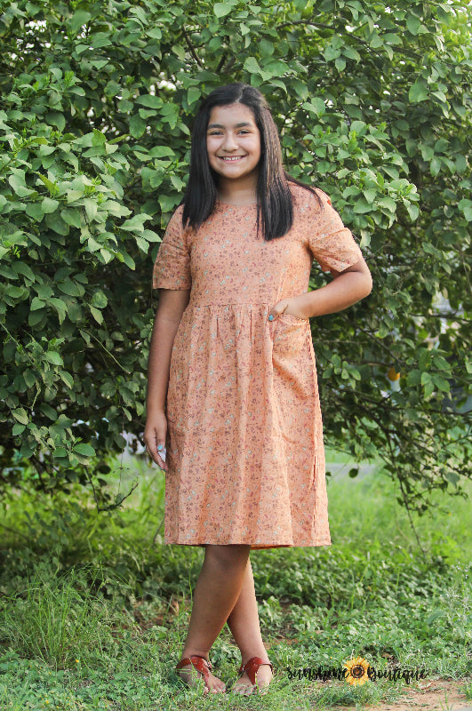 Junior Peach Midi Dress
