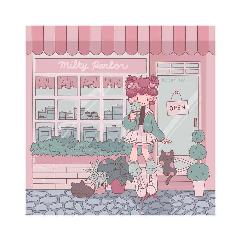 july milky parlor square print