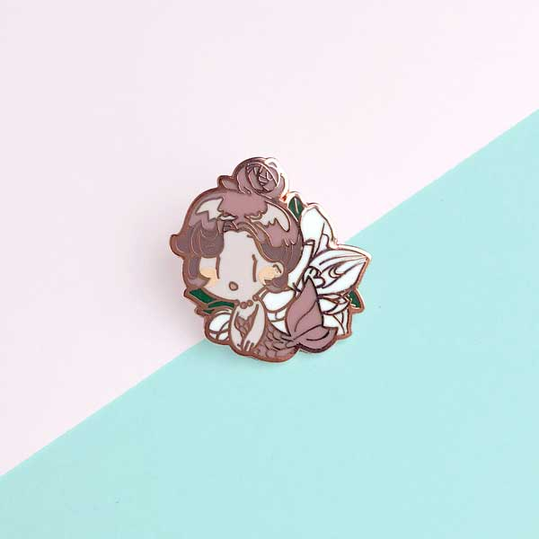 ran mermaid enamel pin