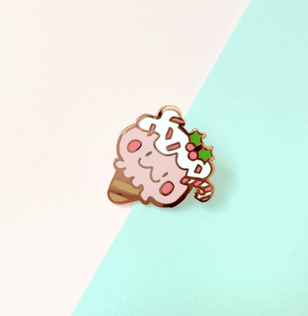 milky parlor peppermint bear enamel pin