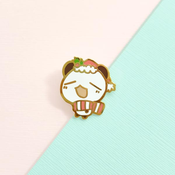 festive connor panda enamel pin