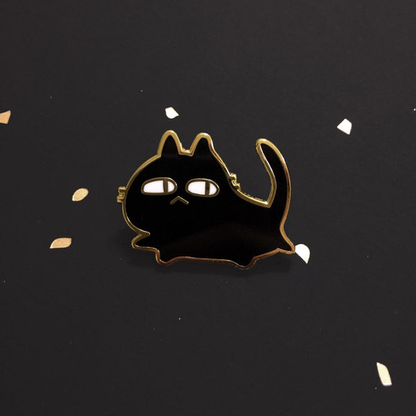 suspicious cat enamel pin