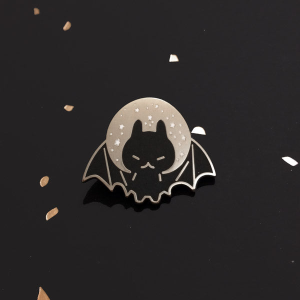 bat moon enamel pin