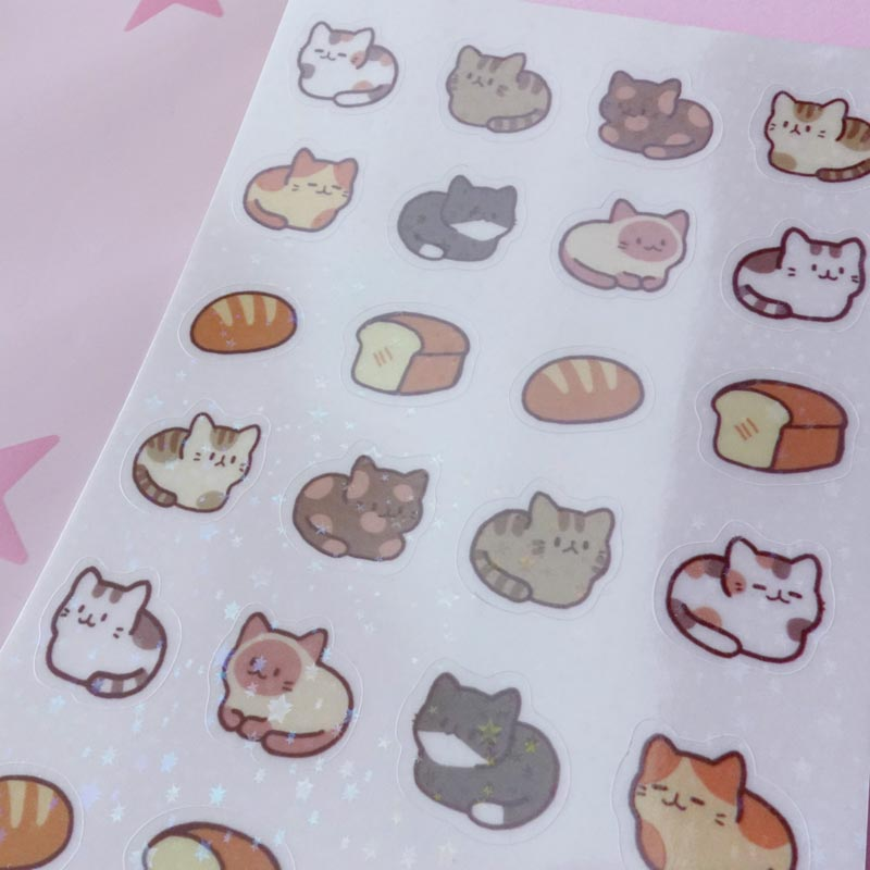 holographic cat loaf clear sticker sheet
