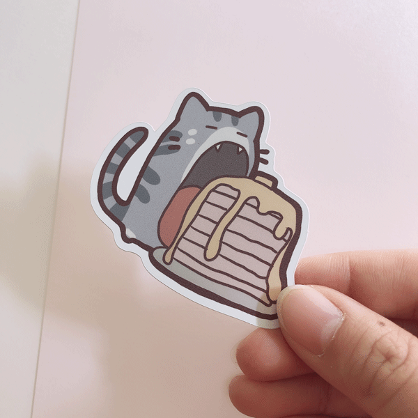 ringo cat pancakes vinyl sticker