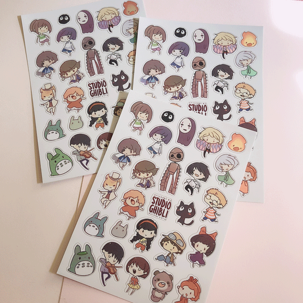 studio ghibli mini metallic vinyl sticker sheet