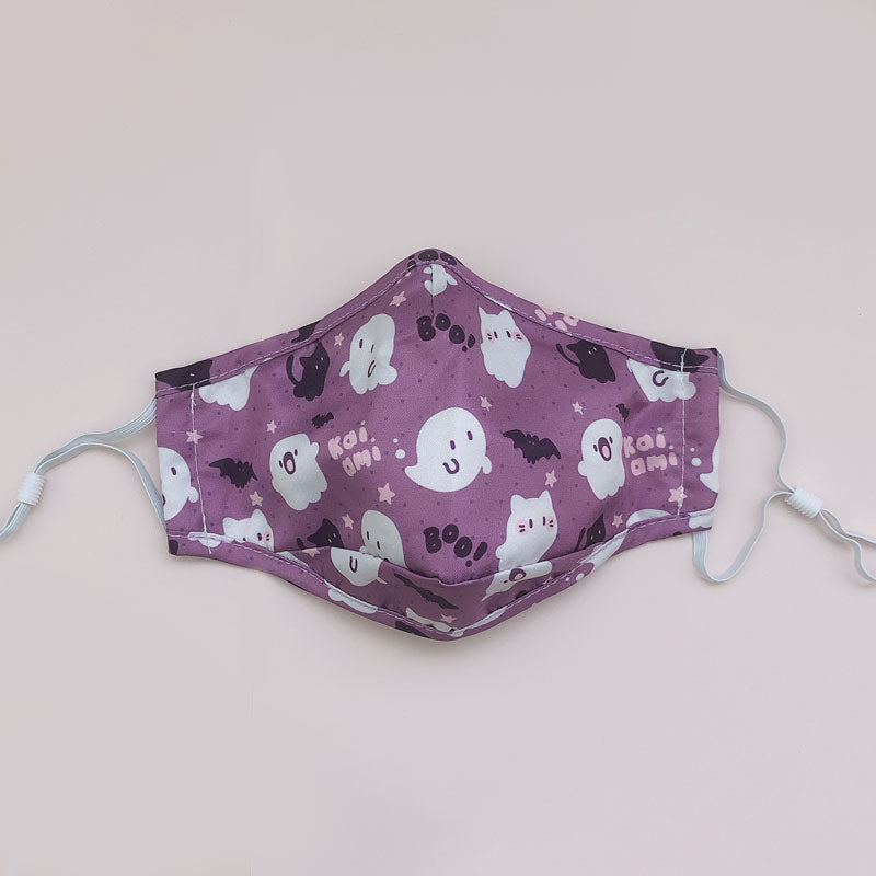 purple ghost friends printed face mask