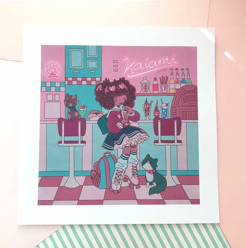 february roller diner square print