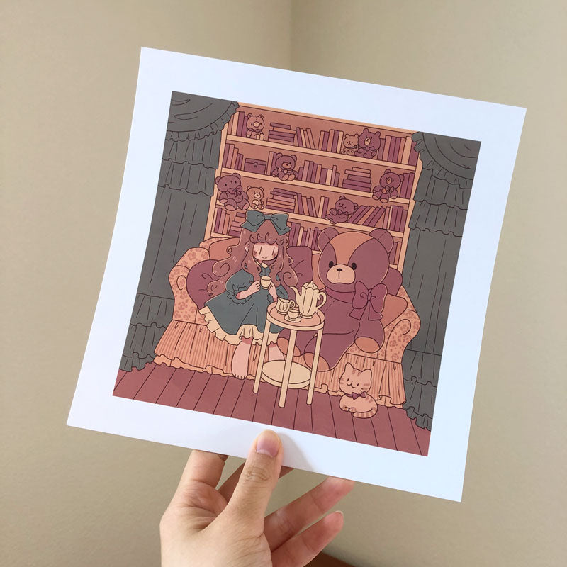 march teddy bear square print
