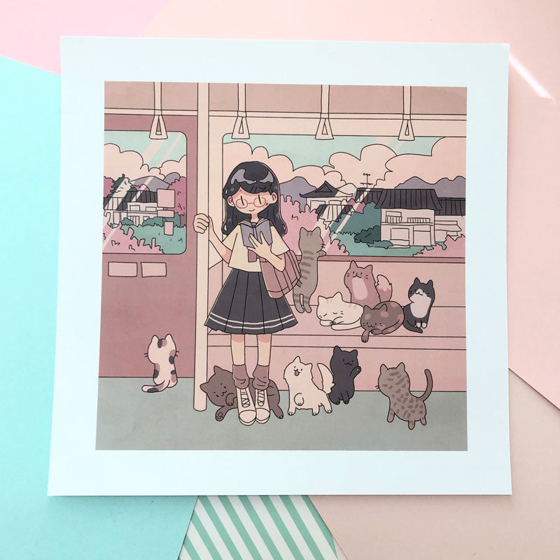 april kitty train square print
