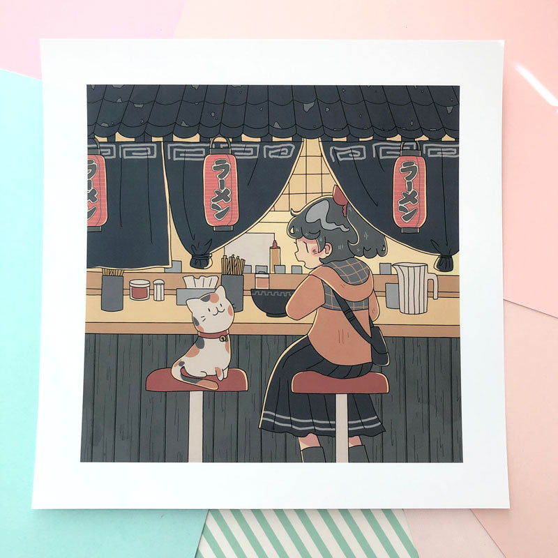 october ramen stand square print