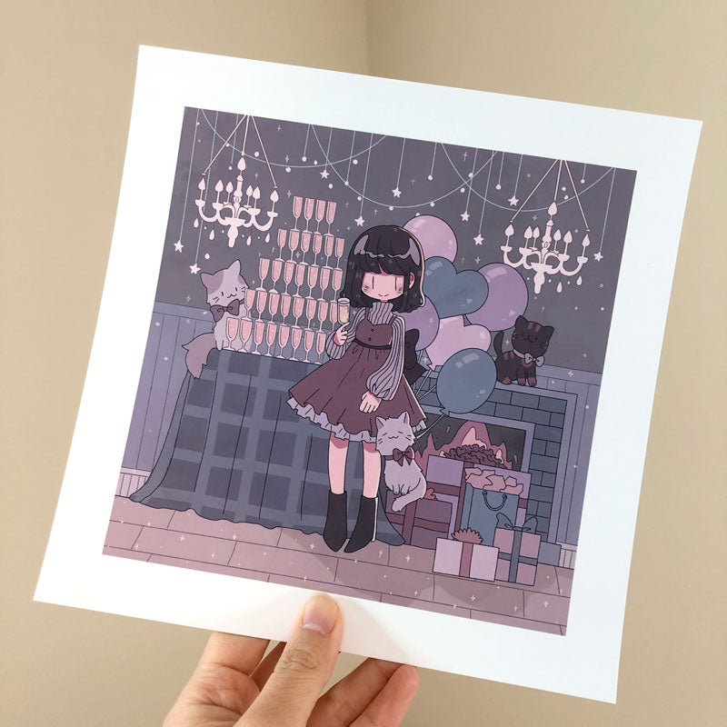 december winter party square print
